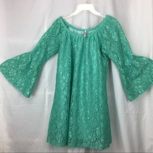 Pretty seagreen lace mini dress with bell sleeves